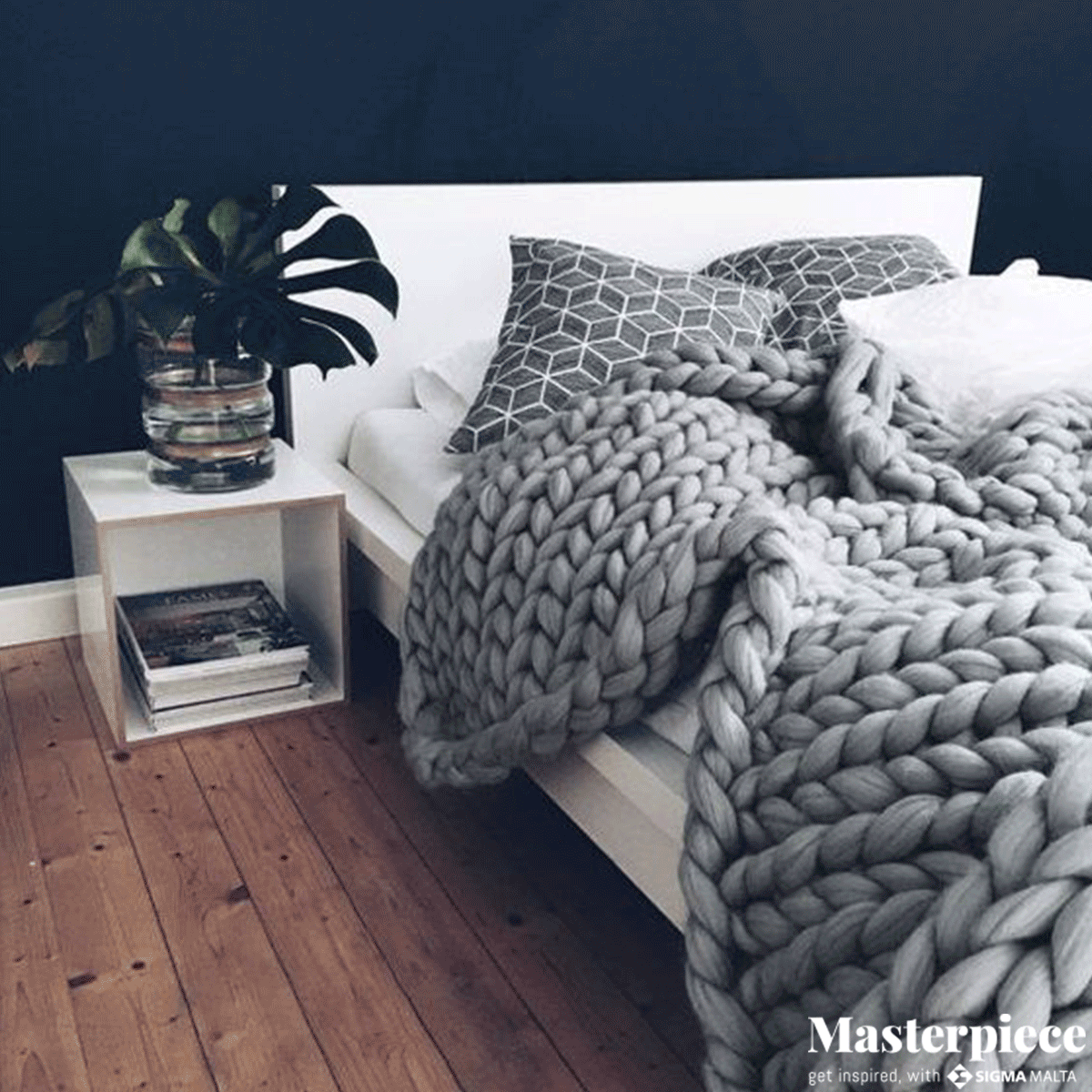 We don't know what we love more,</br><span> the chunky blanket or the idyllic walls.</span>