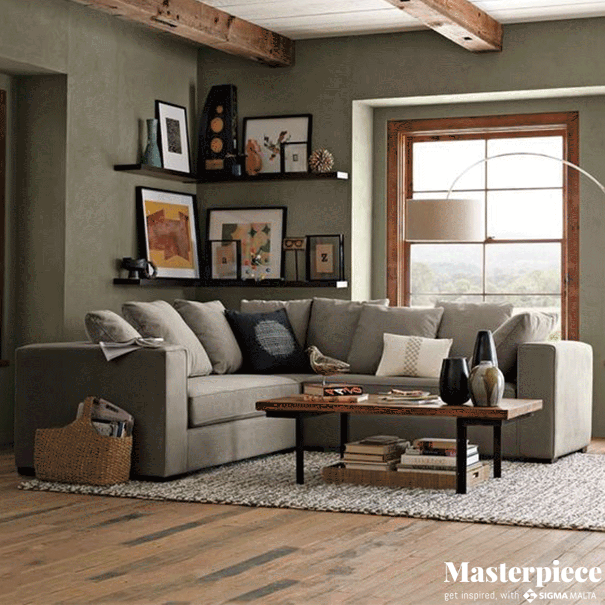 The exposed beams and green </br><span>palette make for a rugged statement.</span>